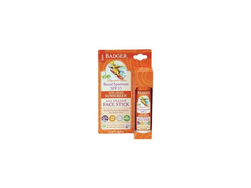 Badger Balm Kids All Season Face Stick, Tangerine and Vanilla, SPF 35, - 0.65 oz