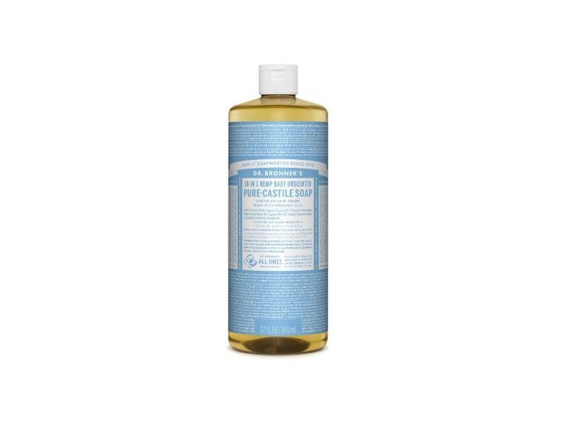 Dr. Bronner's 18-in-1 Hemp Baby Unscented Pure-Castile Soap, 32 fl oz