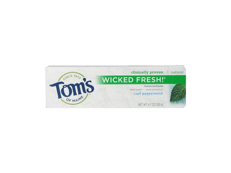 Tom's of Maine Wicked Fresh Fluoride Natural Toothpaste, Cool Peppermint, 4.7 Ounce